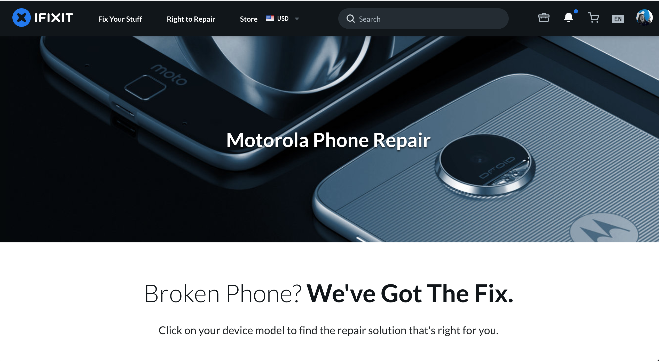 Screenshot of Motorola partnership page on ifixit.com