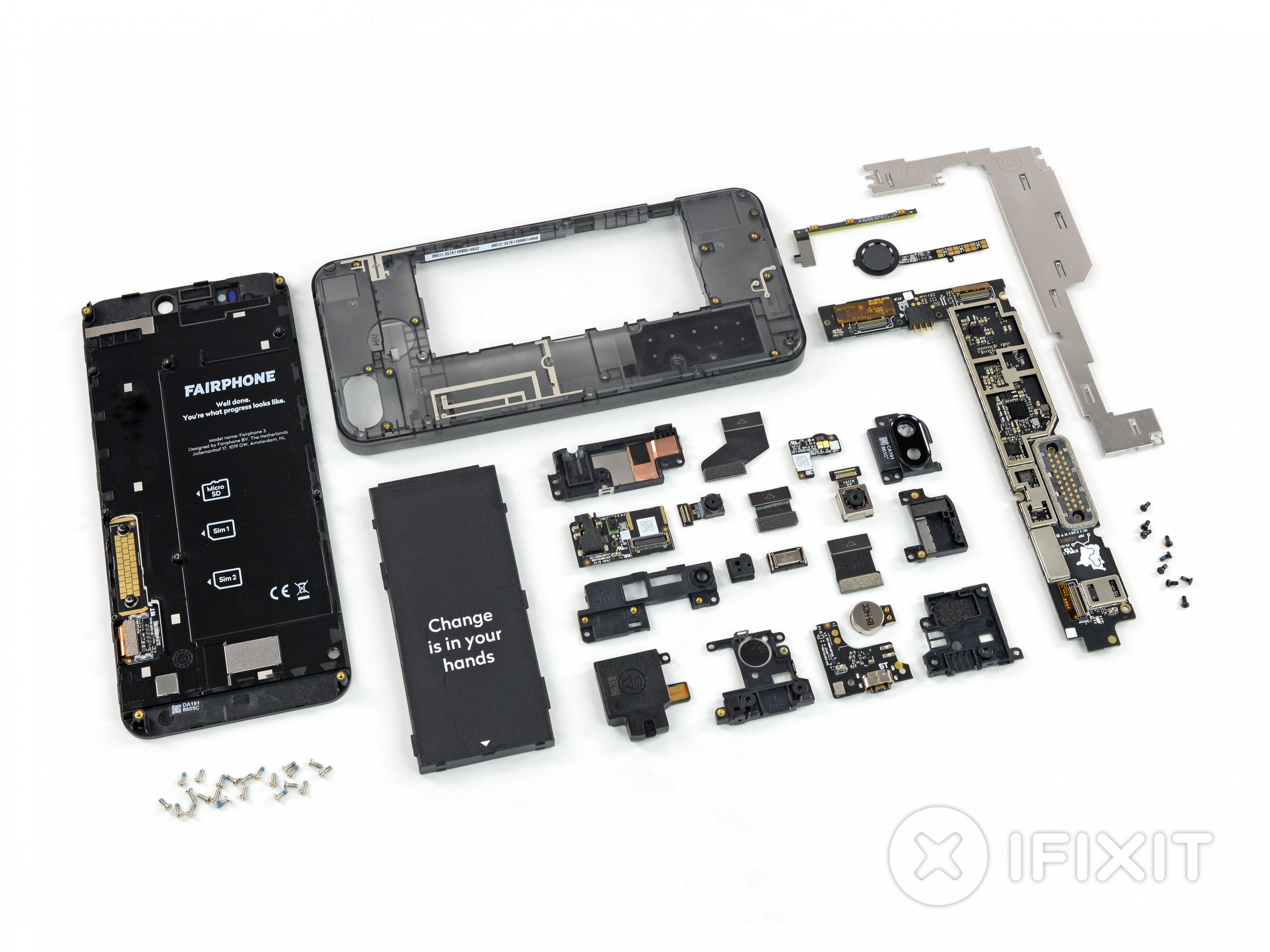 Fairphone 3 teardown layout