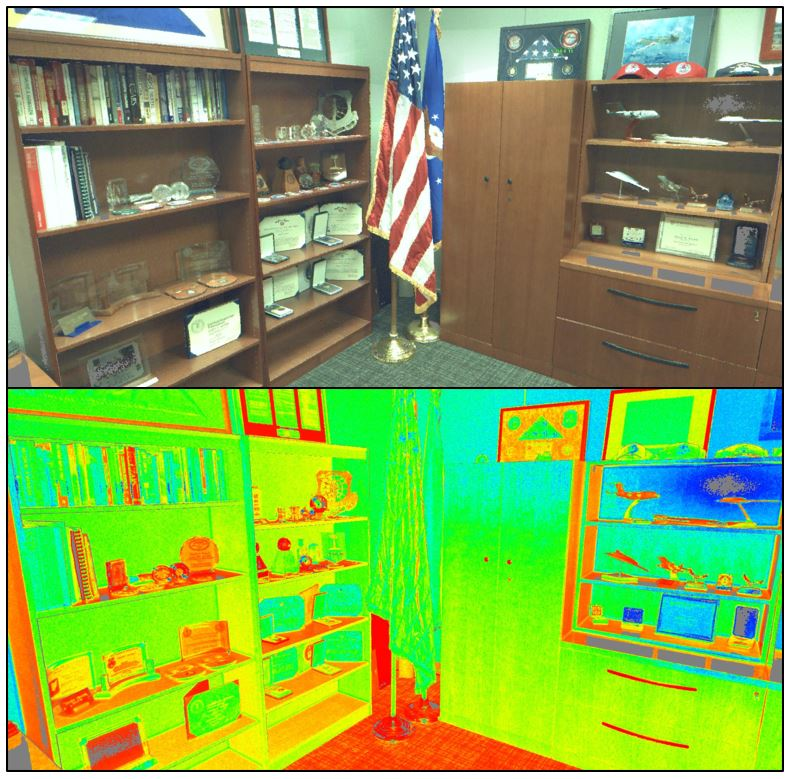 Image of military office alongside a color-coded LiDAR map of same office.