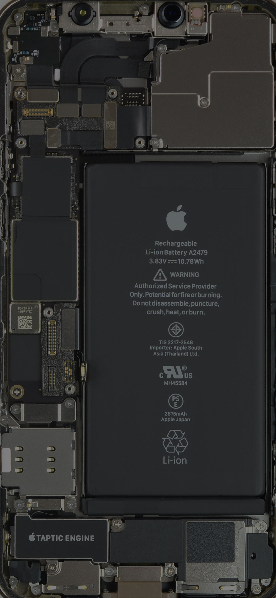 iPhone 12 Pro internals wallpaper, slightly darker mode