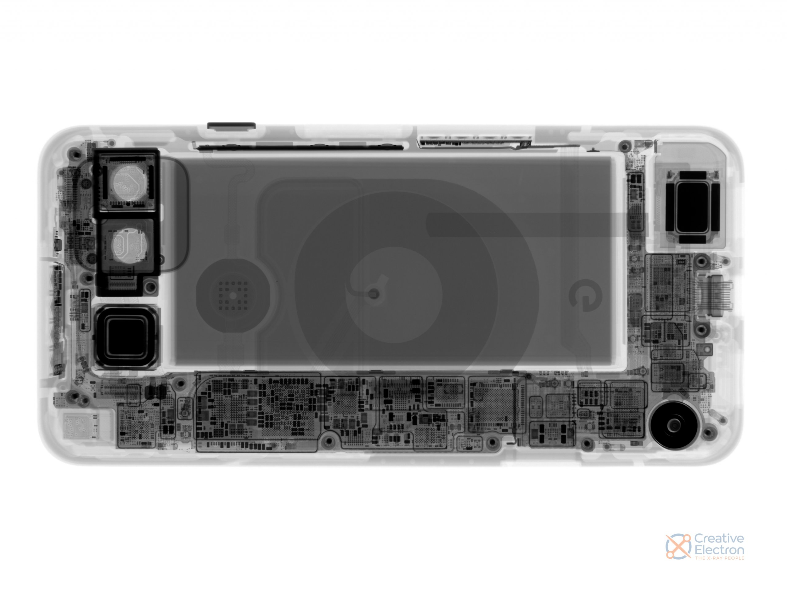 Pixel 5 X-ray on a white background