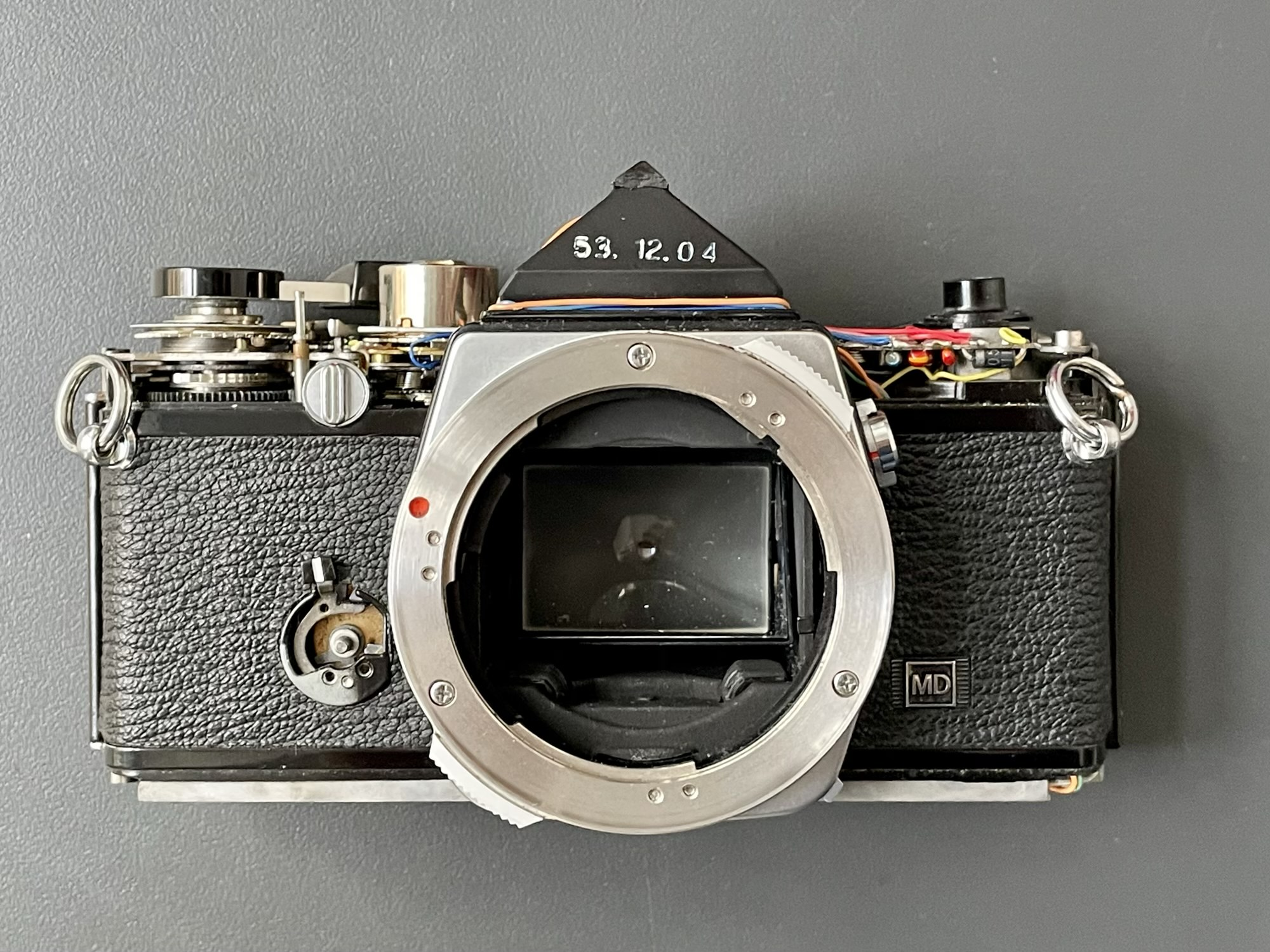 Olympus OM-2n Camera with top and bottom plates removed
