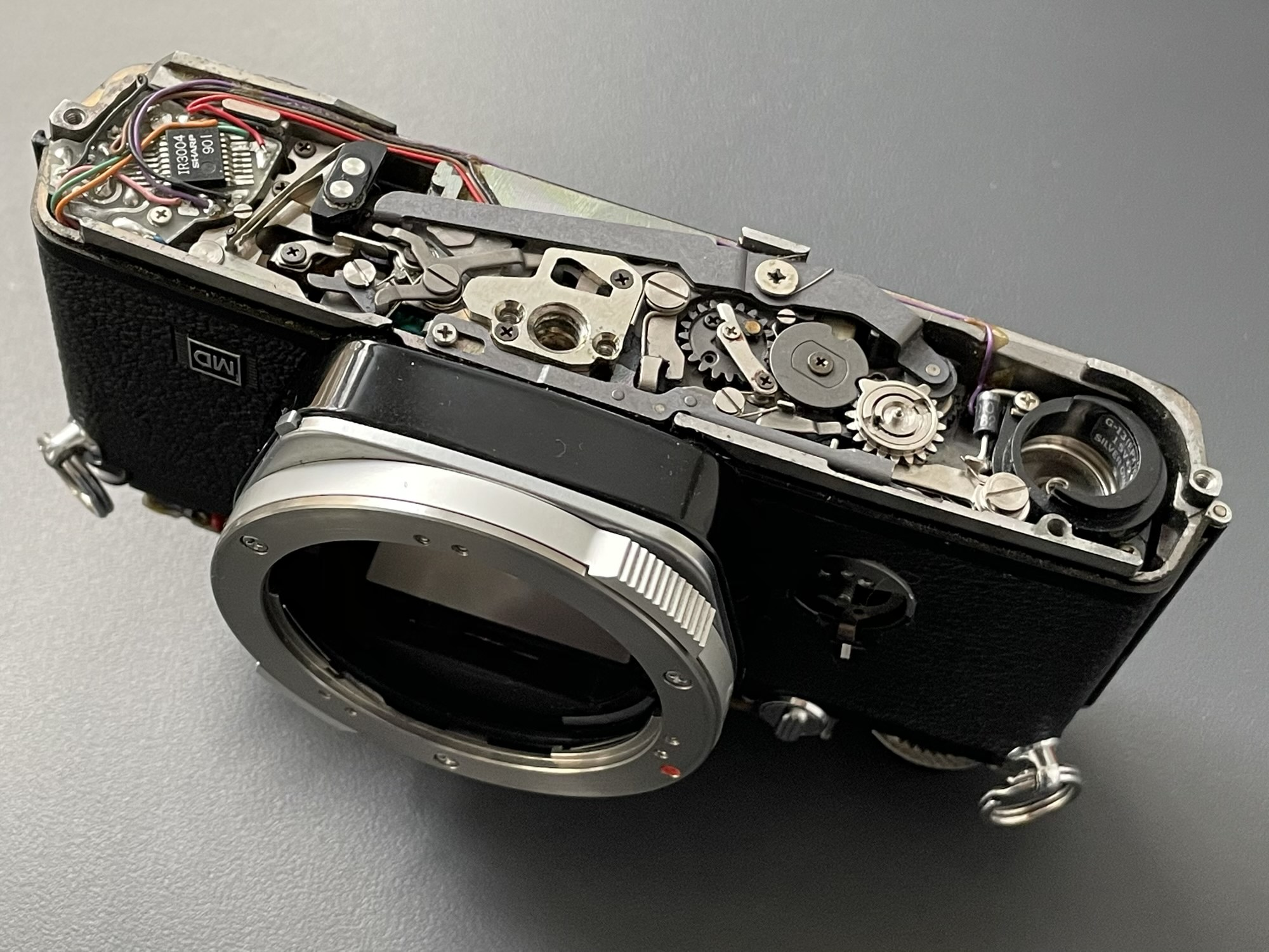Olympus OM-2n with bottom plate removed