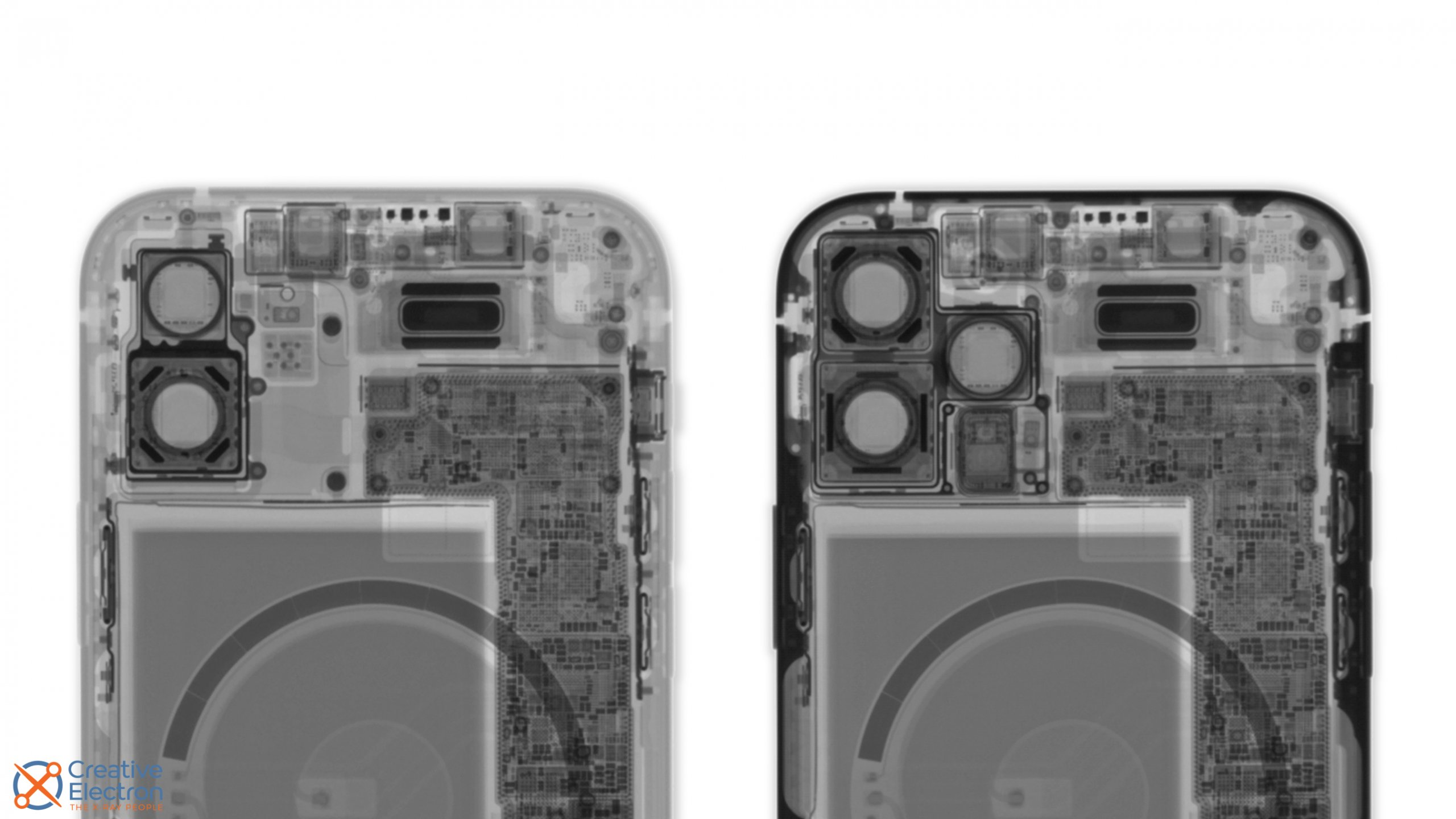 X-rays of iPhone 12 and iPhone 12 Pro models, showing off the little magnets around the camera on the Pro.