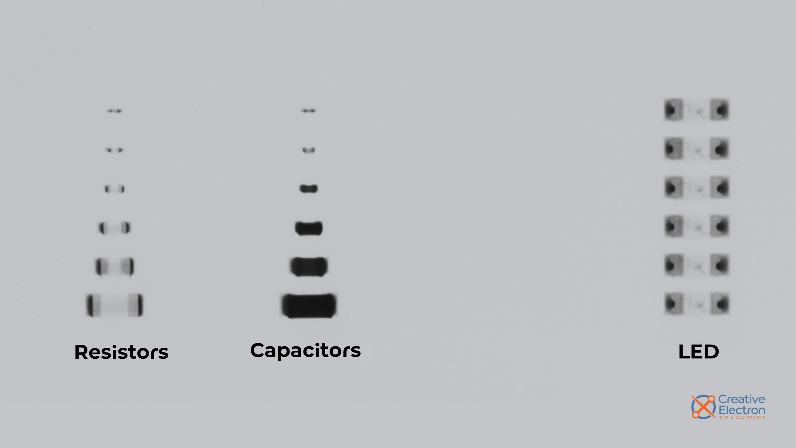 X-rays of resistors, capacitors, and LEDs.