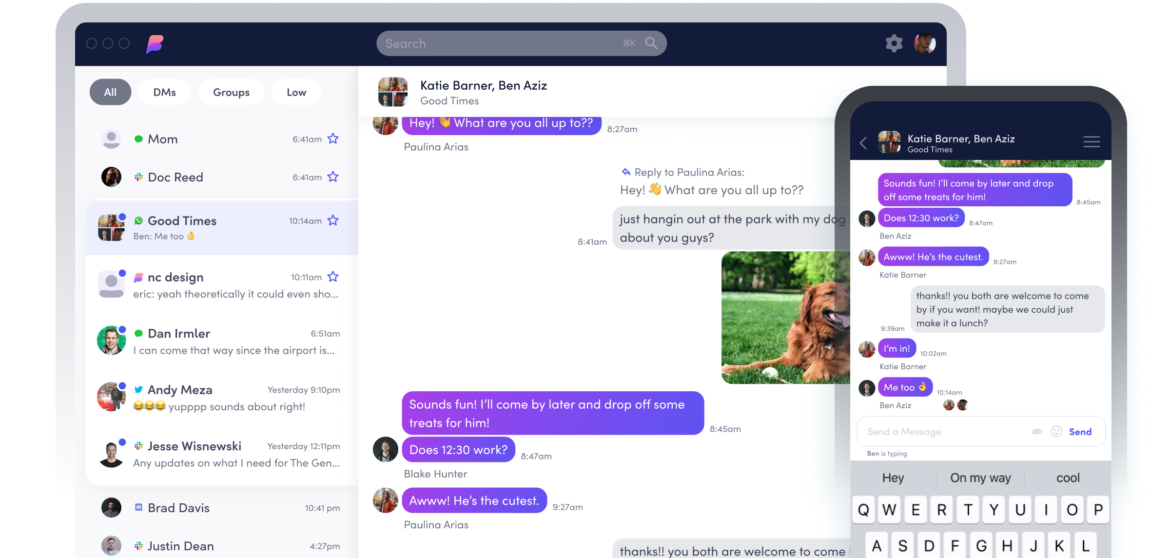 Screenshot of messaging app Beeper