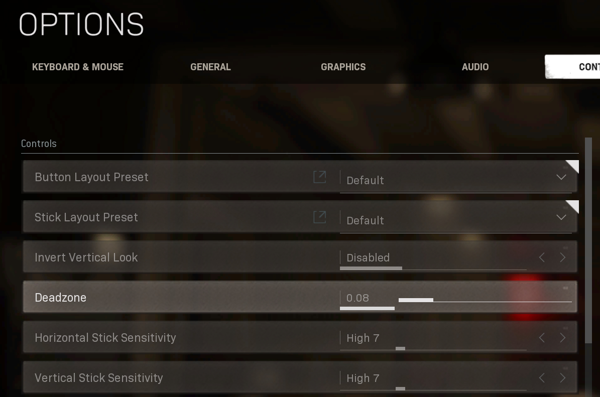 Options screen for Call of Duty: Modern Warfare, with Deadzone option highlighted.