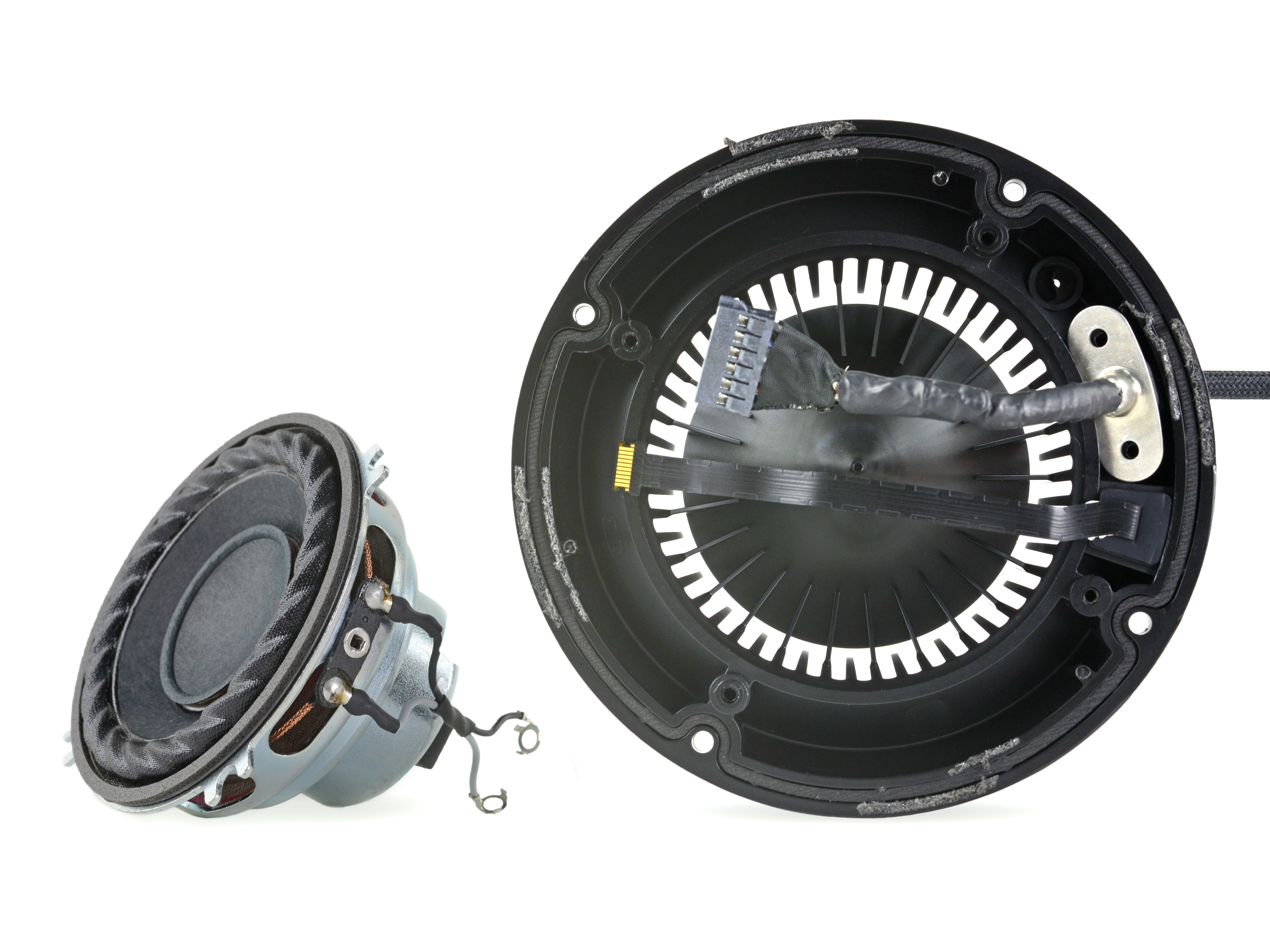 The main speaker driver and outer shell with sound guide