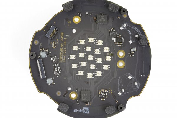 Top side of the HomePod Mini's logic board, with its array of LEDs