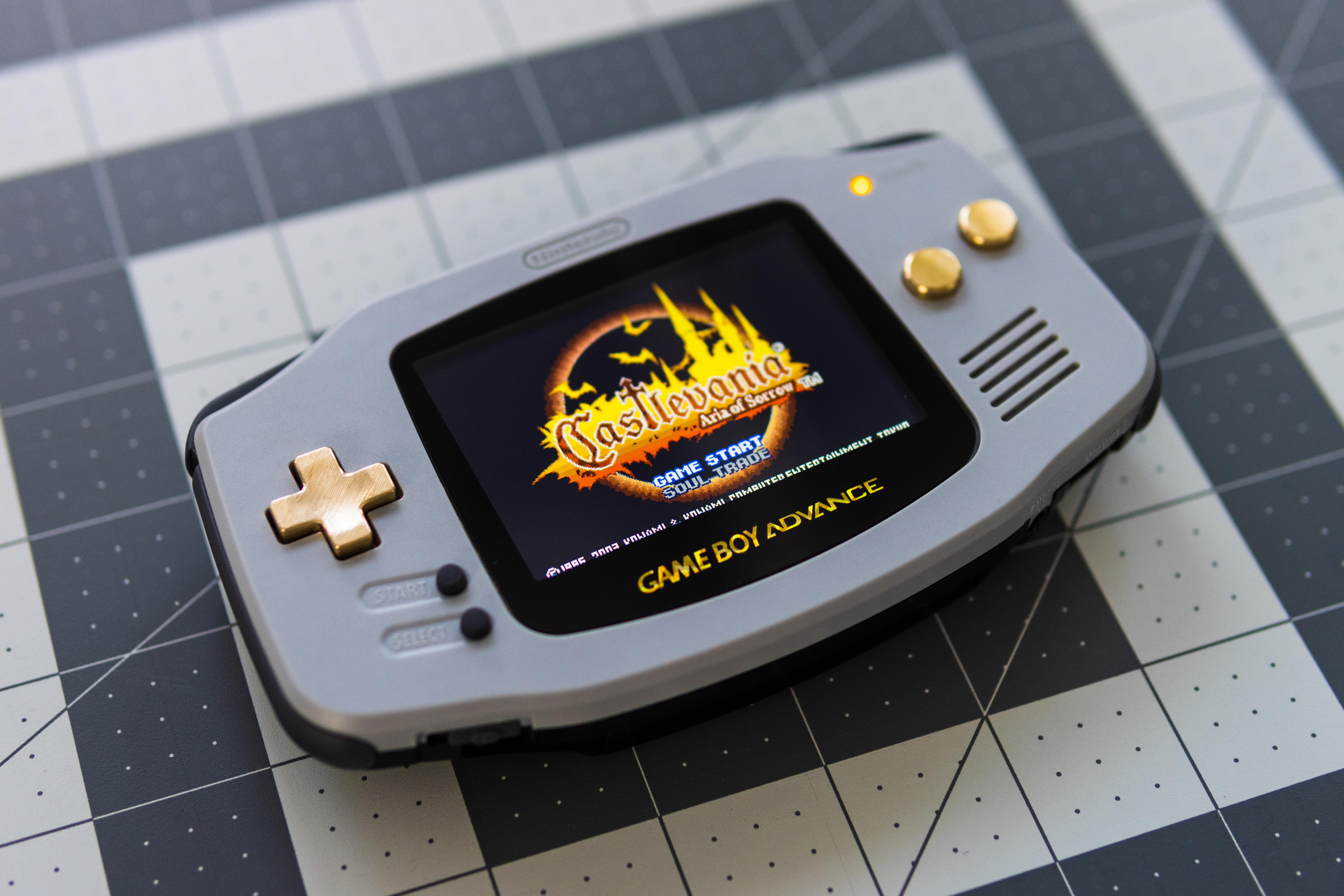 Game Boy Advance, modded in Castlevania colors