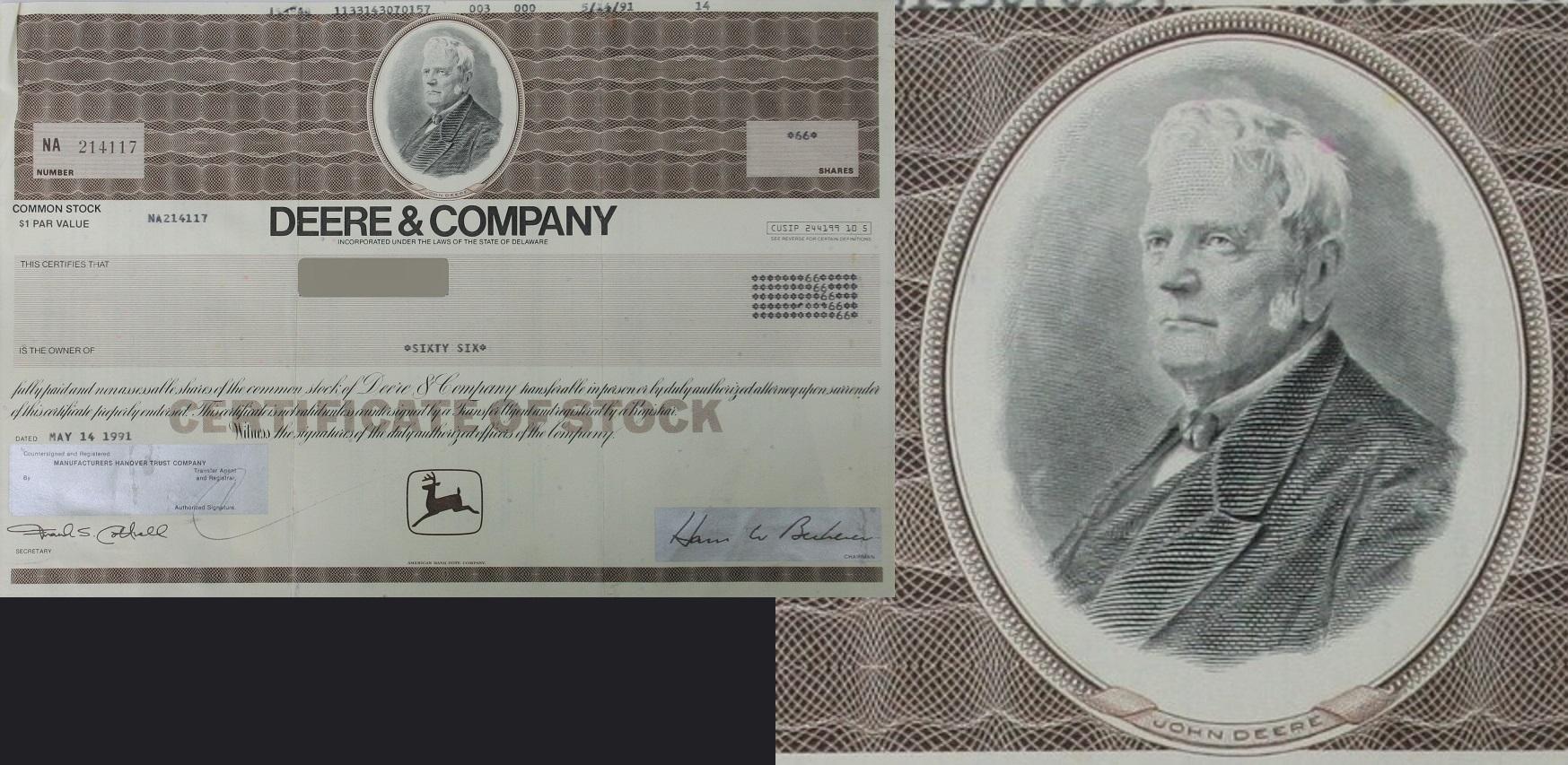 Shareholder certificate from Deere & Company