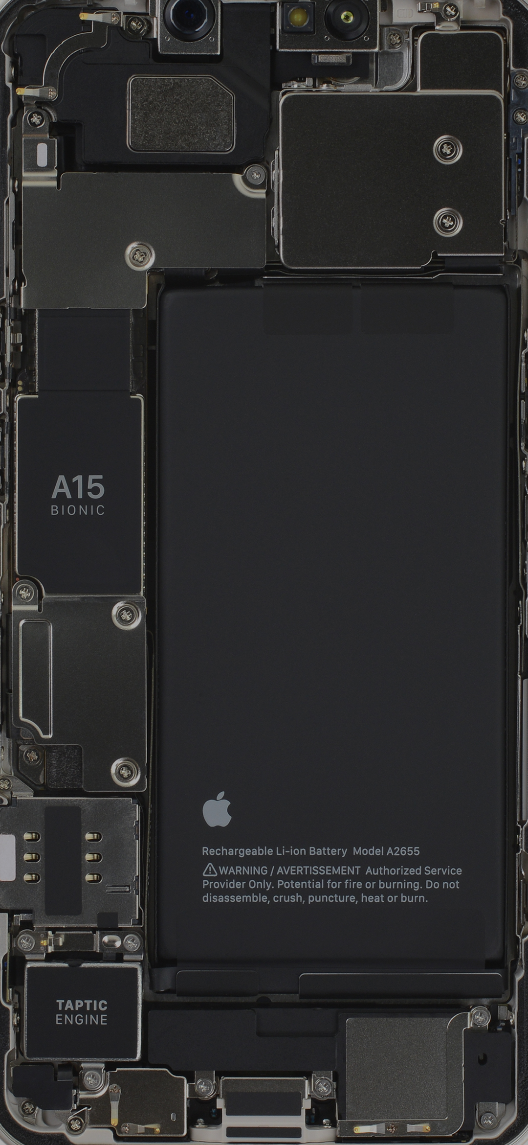Image of the iPhone 13 showing the internals, cropped to proper wallpaper or lock screen size.