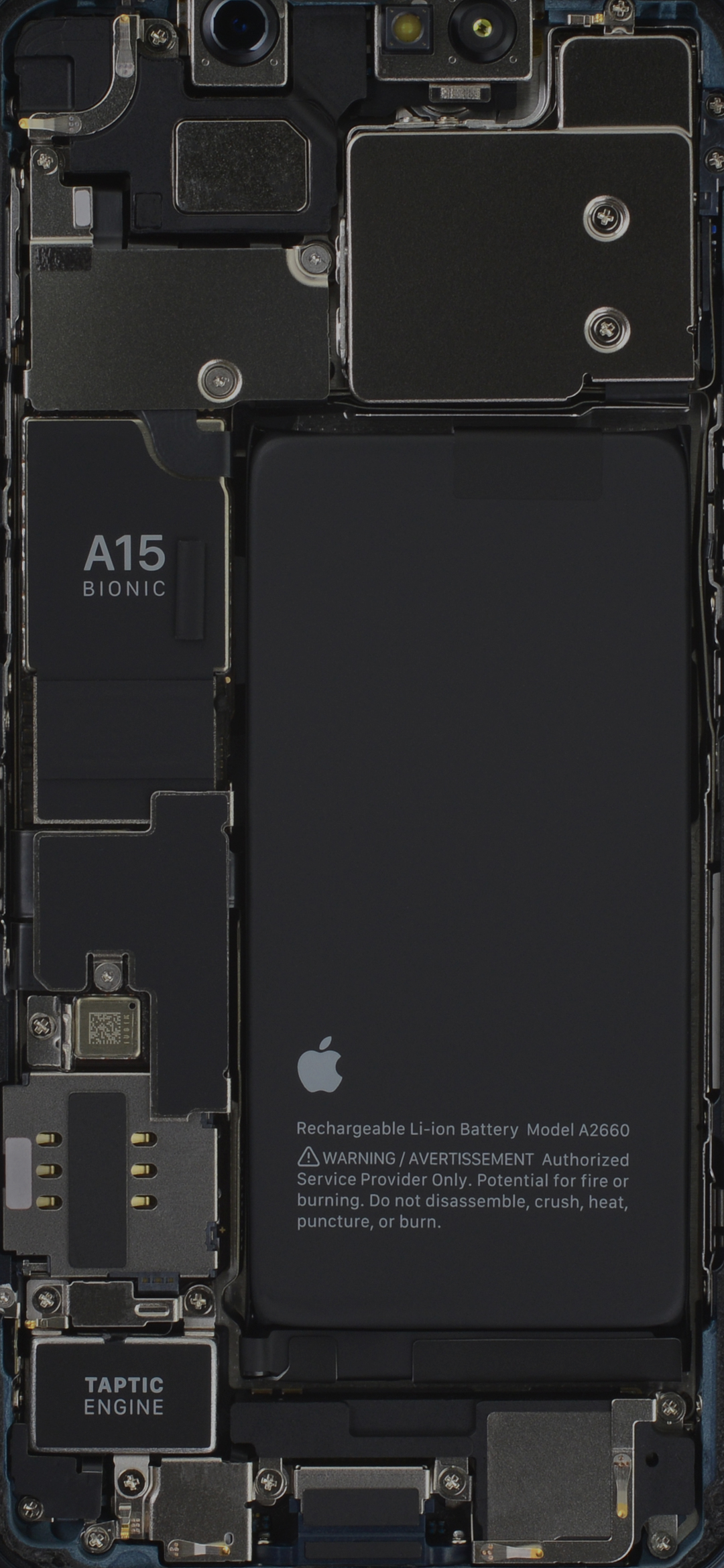 Image of the iPhone 13 mini showing the internals, cropped to proper wallpaper or lock screen size.